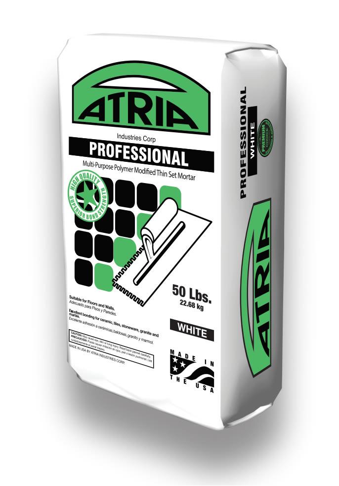 professional white atria industries multi-purpose polymer modified thin set mortar